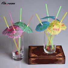 50Pcs Plastic Drinking Straws Holiday Beach Party Cocktail Umbrella Funny Straws