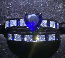 2 RING SET BLACK GOLD FILLED BLUE HEART CUT.Clear + Blue Gems . Sparkly SIZE T