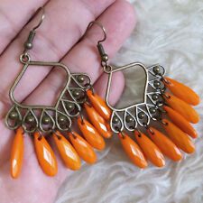 Vintage Womens Antique-Brass-Tone Chandelier Orange Beads Dangle Hook Earrings