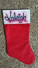 Airbrush Christmas Stocking Stuffer Name Monogram Girl Boy Pink Handmade