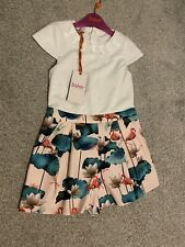 New Girls Ted Baker Floral Occassion Playsuit Flamingo Dragon Fly 5-6 Years 🎀