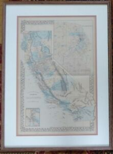 1869 Mitchell Map California Framed w/Glass Hand Colored SF Streets Double Page!