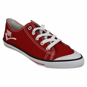 PONY 121Y08 LADIES WOMENS RED LACE UP FLAT CANVAS CASUAL TRAINERS PUMPS SHOES