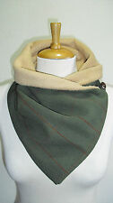 Country Green Check wool Neck warmer/Scarf/Snood. Fleece lining