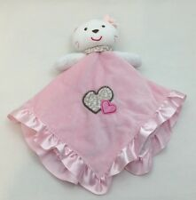 "Carters Pink Kitty Cat Security Blanket Rattle Blankie Infant Baby Girl 15"" Toy"