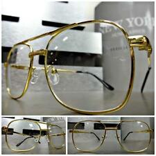 Mens CLASSIC VINTAGE RETRO Style Clear Lens EYE GLASSES Small Gold Fashion Frame