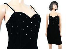 80s 90s Mini Dress XS S Black Velvet Rhinestones Sleeveless Cocktail Prom Gown
