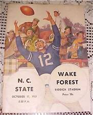 1959 NC State Wolfpack VS Wake Forest Football PROGRAM FREE SHIPPING