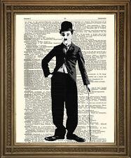 CHARLIE Chaplin STAMPA: Commedia Film Star opera d'arte su VINTAGE dizionario pagina