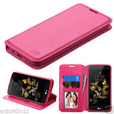 HOT PINK FOLIO FLIP CASE FAUX LEATHER COVER FOR LG PHOENIX 2 / EXPRESS 3 / K8