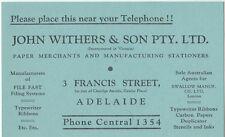 Stamp Australia John Withers & Son Pty Ltd stiffener found in Wide World FDC