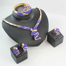 Women Gold Plated Blue Rhinestone Jewelry Sets African Beads Wedding Dress Set