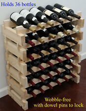 stackable wine storage rack 36 bottles 6x6 solid wood cellar shelves wn36