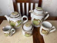 5 x Denby Vintage 1970's Troubadour coffee pot tea pot jugs x 2 and sugar bowl
