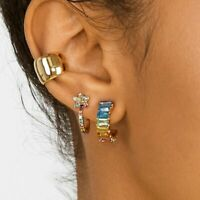 Fashion Dangle Drop Stud Earrings Round Glass Colorful Women Party Gift Jewelry