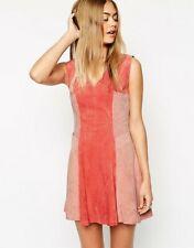 b9d57c2d309 Asos Color Block Leather Suede Skater Dress Size 12 Pink Peach Coral