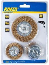Kinzo 3x Set Scheibenbürste Topfbürste f. Bohrmaschine Messingbürste Drahtbürste