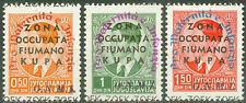 Italy Zona Occupata Fiumano Kupa 1942, WWII Overprints Mi.# 19-21, MNH