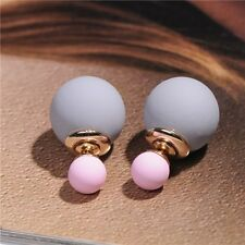 Candy Color Double Side Round Pearl Earings Resin Crystal Ball Women Ear Studs