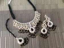Indian wedding jewellery set, gold Black earrings necklace Tika