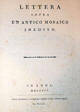 Guattani: Lettera Sopra un Antico MOSAICO Inedito 1806 Mordacchini RARO Arte