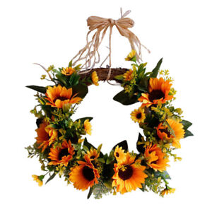Artificial Sunflower Wreath Summer Fall Garland Spring Flower with Green Leaves