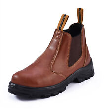 Safetoe Brown Safety Work Boots Shoes Steel Toe Slip on Water-Resistant Leather