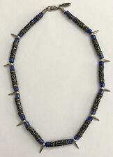 Silver Tone Spike Beads Tribal Design & Blue Beads Necklace by KillerBeads 00's
