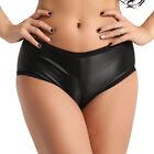 Plus M-3XL Women Faux Leather Stretchy Bikini Briefs Underwear Panties Knickers
