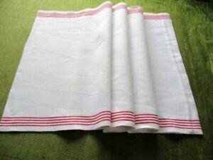 VINTAGE LINEN ROLLER TOWEL with Red Stripes - vgc