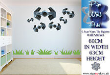 STAR WARS Wall Sticker TIE FIGHTER 6 PACK Childrens bedroom décor Art large.
