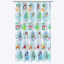 St. Nicholas Square Winter Oh What Fun Fabric Shower Curtain Fox Polar Bear NWT