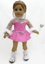"""4 pc Pink Skating Dress Outfit made for 18"""" American Girl Doll Clothes"""