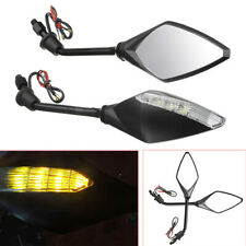 2PCS Amber LED Turn Signal Lights Indicators Rear View Mirrors For Motorcycle