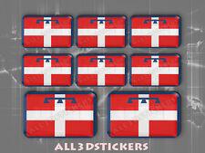 8 x Adesivi Resinati 3D Rettangolare Bandiera Piemonte - Tutte le Bandiere