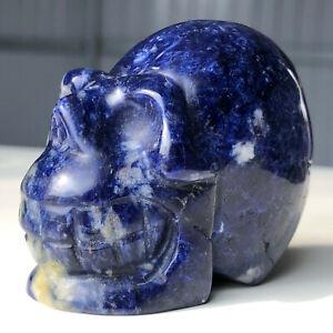 150g Natural Sodalite Quartz Crystal Skull Hand Carved Healing M385