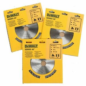 Set of 3 DeWalt TCT Circular Saw Blades 180mm x 30mm x 12T, 20T & 30T