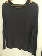 Ladies Mint Velvet Top Size 12 Grey 2 In 1 Top