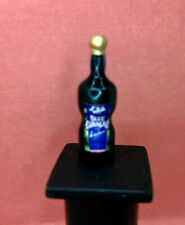 Dollhouse Miniature 1:12  Filled Blue Curacao Glass and Fluid 1 inch high