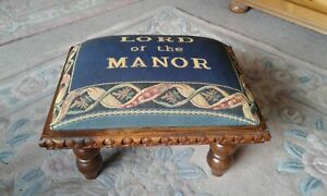 """PAST TIMES WOOD AND TAPESTRY """"LORD OF THE MANOR"""" FOOT STOOL"""