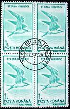 ROMANIA 1991:BIRDS: BLOCK OF 4 x 1L MNG WITH PRECANCEL