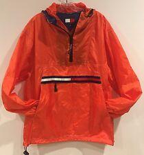 Vintage 90s Men's Tommy Hilfiger Pullover Windbreaker Jacket Nylon Orange M
