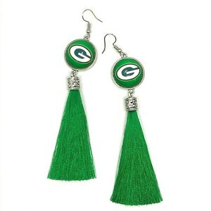 Green Bay Packers Football Tassel Fish hook Dangle Earrings FREE SHIPPING