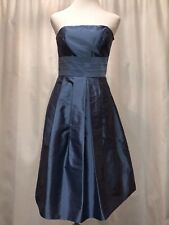 ANN TAYLOR Steel Blue Silk Strapless Cocktail Formal Bridesmaid Dress Size 6