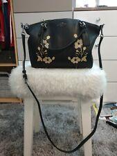 Coach Bag Black Leather Kelsey Bag Floral Embellished.