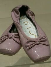 Girls Unisa Lilac Purple Patent Leather Party Bow Ballet Pumps Shoes UK 8 BN