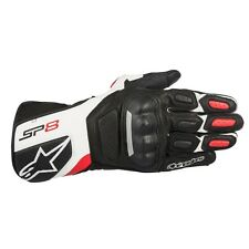 ALPINESTARS SP-8 SPORT LEATHER GLOVES BLACK/WHITE/RED GREY SMALL