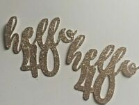 Hello 40 cupcake toppers  glitter cupcake topper X 6