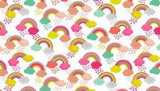 Fat Quarter Fantasy Rainbow White Cotton Quilting Fabric