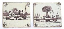 Antique Dutch Tiles-Delft Ware-Mangane colored-18th century-Landscapes